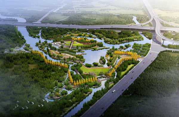 (安然湿地公园) 规划中的安然湿地将形成陆生植物区、耐淹植物区、挺水植物区、浮水植物区等6块各具特色的植物区。湿地之内,特色覆土建筑结合盘旋而上的游步道和大型的空中廊道,将给市民提供多层次的步行体验。今年年底,安然湿地将基本建成。 永宁创意湿地公园